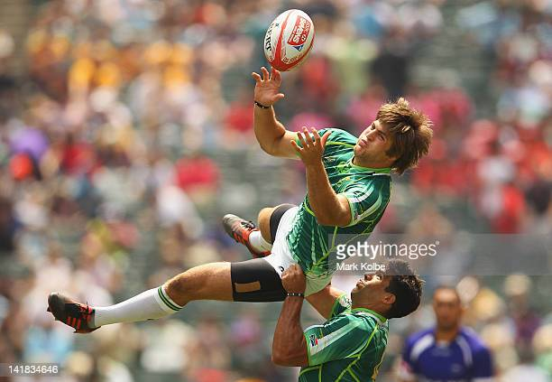 Boom Prinsloo of South Africa loses the ball during the match between Samoa and South Africa on day three of the 2012 IRB Hong Kong Sevens at Hong...