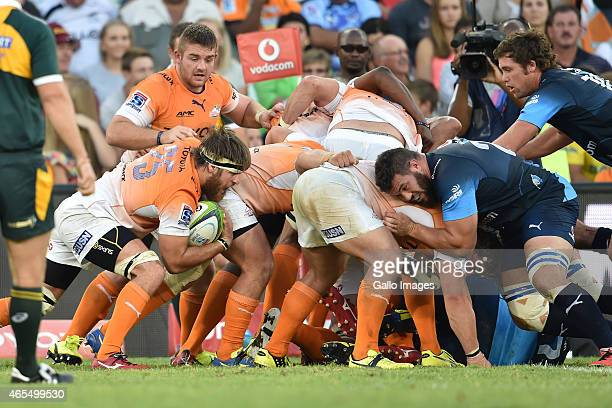 Boom Prinsloo of the Cheetahs during the Super Rugby match between Toyota Cheetahs and Vodacom Bulls at Free State Stadium on March 07 2015 in...