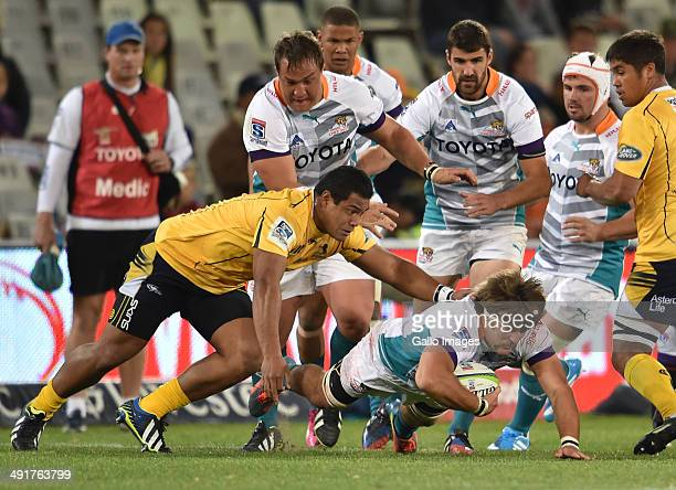 Boom Prinsloo of the Cheetahs during the Super Rugby match between the Toyota Cheetahs and the Brumbies at the Free State Stadium on May 17 2014 in...
