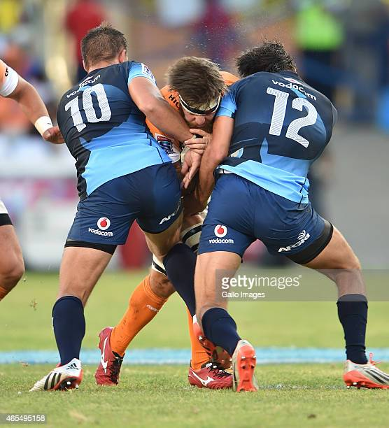 Boom Prinsloo of the Cheetahs getting stopped in his tracks during the Super Rugby match between Toyota Cheetahs and Vodacom Bulls at Free State...