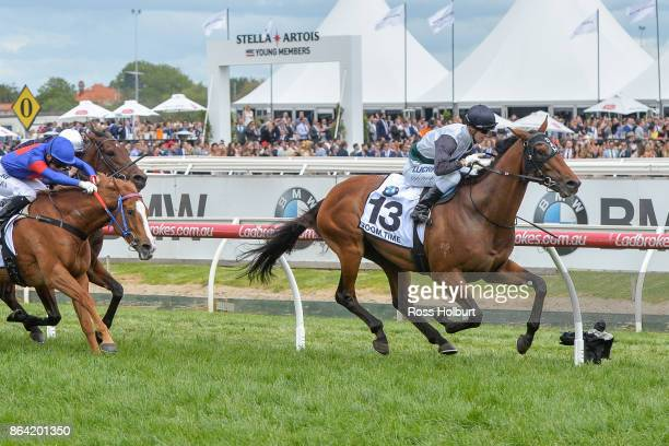 Boom Time ridden by Cory Parish wins the BMW Caulfield Cup at Caulfield Racecourse on October 21 2017 in Caulfield Australia