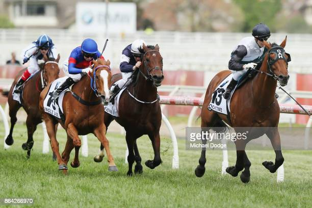 Boom Time ridden by Cory Parish wins the BMW Caulfield Cup during Melbourne Racing at Caulfield Racecourse on October 21 2017 in Melbourne Australia