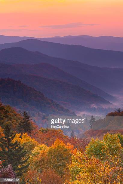 Boom view of magnificent autumn mountain sunrise