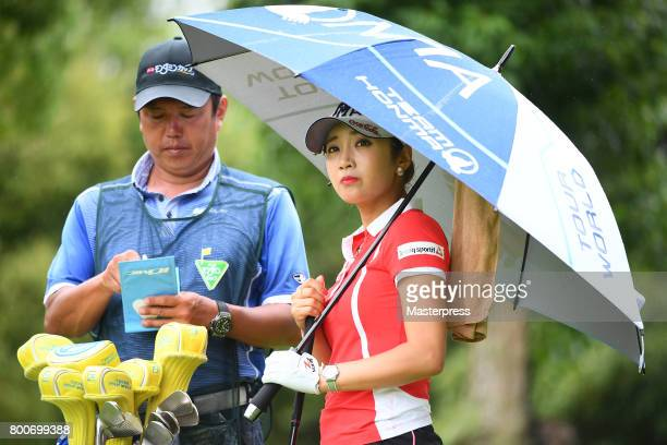 BooMee Lee of South Korea looks on during the final round of the Earth Mondamin Cup at the Camellia Hills Country Club on June 25 2017 in Sodegaura...