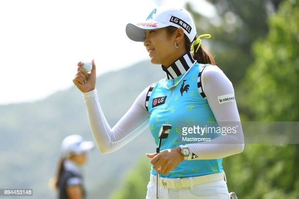BooMee Lee of South Korea smiles during the third round of the Suntory Ladies Open at the Rokko Kokusai Golf Club on June 10 2017 in Kobe Japan