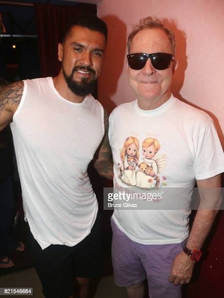 Boomer Banks and Fred Schneider of the B52's pose backstage at Jackie Beat Birthday Bitch at The West Bank Cafe Theatre on July 23 2017 in New York...