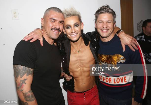 Boomer Banks Frankie Grande and David Burtka poses backstage at his second night sold out performance of Livin' La Vida Grande at Green Room 42 on...