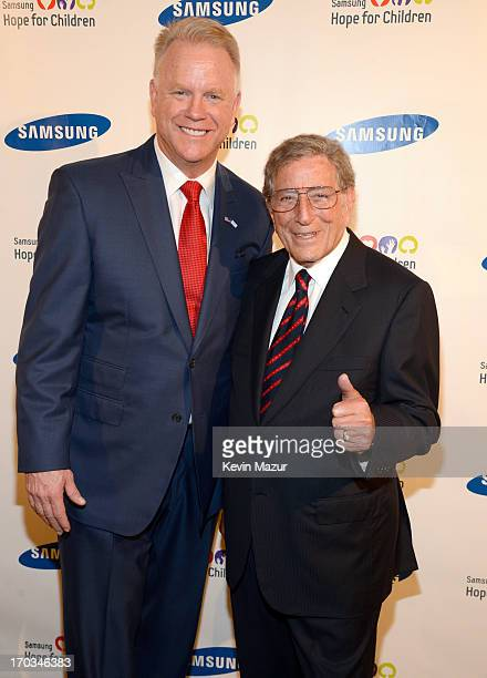 Boomer Esiason and Tony Bennett attend the Samsung's Annual Hope for Children Gala at CiprianiÕs in Wall Street on June 11 2013 in New York City