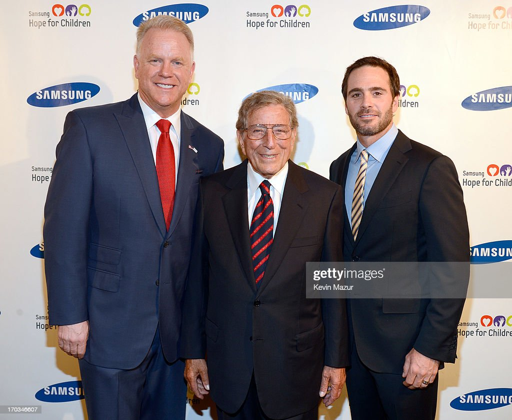 Boomer Esiason, Tony Bennett and Jimmie Johnson attend the Samsung's Annual Hope for Children Gala at CiprianiÕs in Wall Street on June 11, 2013 in New York City.