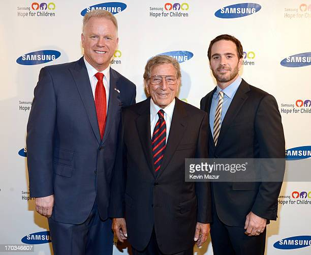 Boomer Esiason Tony Bennett and Jimmie Johnson attend the Samsung's Annual Hope for Children Gala at CiprianiÕs in Wall Street on June 11 2013 in New...
