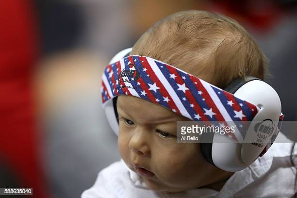 Boomer Phelps wears ear protection during the evening swim session on Day 6 of the Rio 2016 Olympic Games at the Olympic Aquatics Stadium on August...