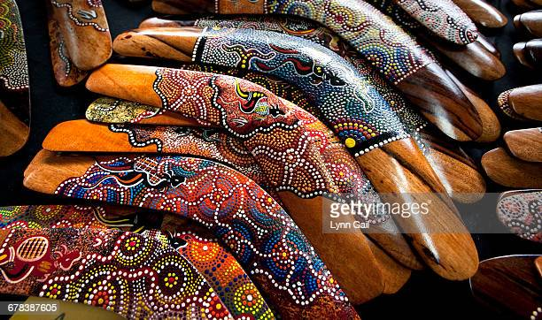 boomerangs, victoria station market, victoria, australia, pacific - boomerang stock pictures, royalty-free photos & images