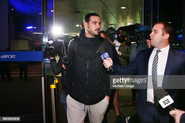 Boomers basketballer Chris Goulding is speaks to the media as he leaves Melbourne Airport on July 4 2018 in Melbourne Australia The Australian...