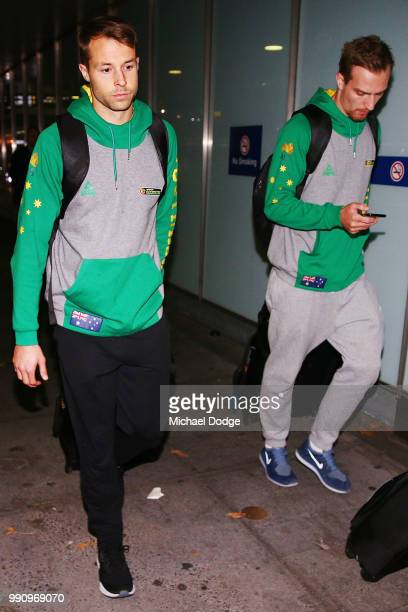 Boomers basketballers Nathan Sobey and Anthony Drmic leave Melbourne Airport on July 4 2018 in Melbourne Australia The Australian Boomers players...
