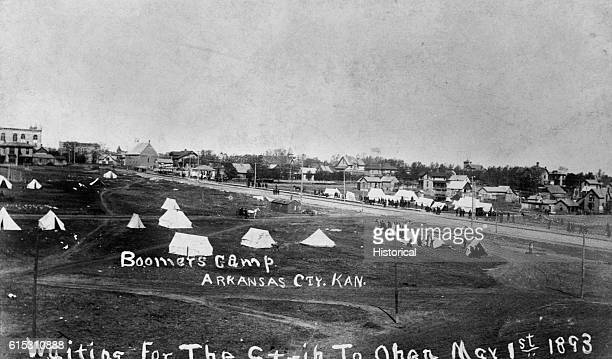 Boomers Camp Homesteaders' tents set up in a field outside of Arkansas City Kansas waiting for the strip to open March 1st 1893 | Location Arkansas...