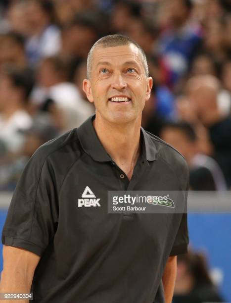 Boomers coach Andrej Lemanis looks on during the FIBA World Cup Qualifier match between the Australian Boomers and the Philippines at Margaret Court...