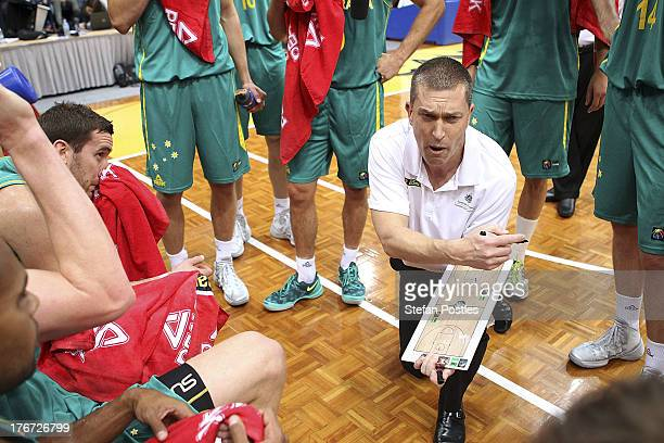 Boomers coach Andrej Lemanis speaks to his players during the Men's FIBA Oceania Championship match between the Australian Boomers and the New...
