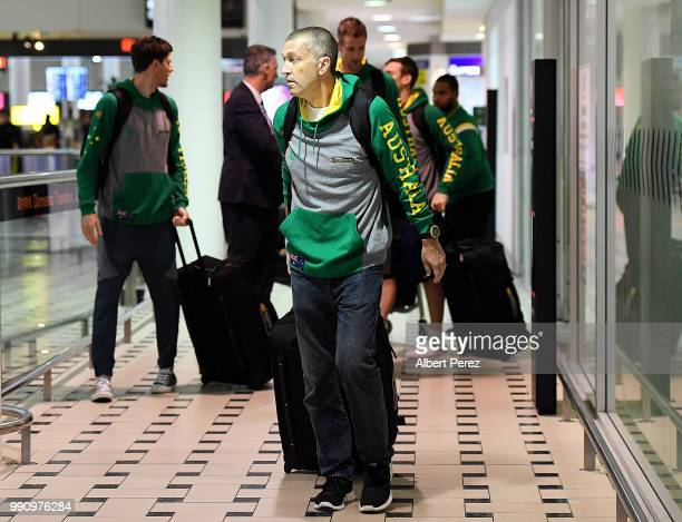 Boomers head coach Andrej Lemanis and members of the Boomers squad arrive at Brisbane Airport on July 4 2018 in Brisbane Australia The Australian...