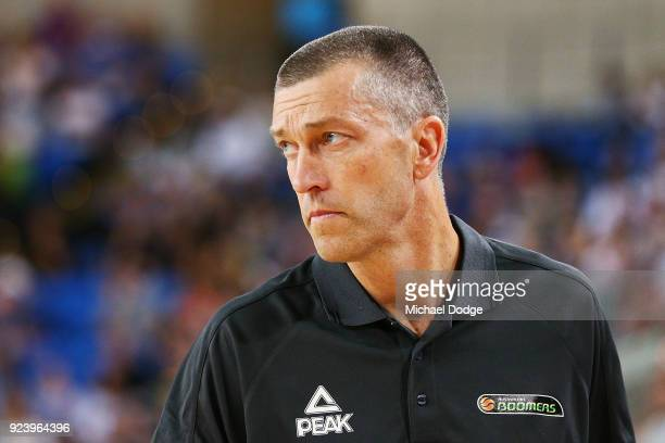 Boomers head coach Andrej Lemanis looks on during the FIBA World Cup Qualifying match between the Australian Boomers and Chinese Taipei at Margaret...