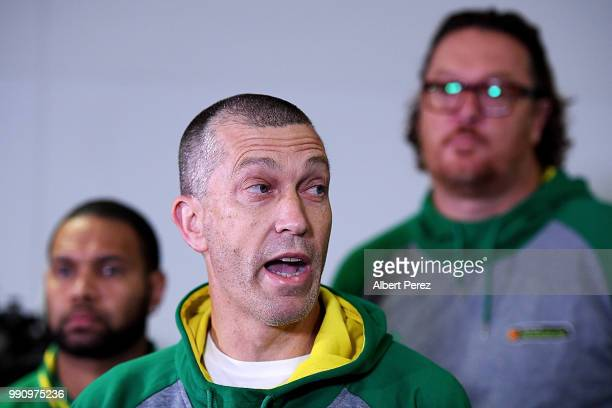 Boomers head coach Andrej Lemanis speaks to the media during a press conference after arriving at Brisbane Airport on July 4 2018 in Brisbane...