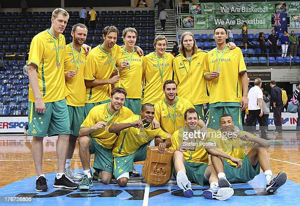Boomers players pose for a team photo after winning the Men's FIBA Oceania Championship match between the Australian Boomers and the New Zealand Tall...