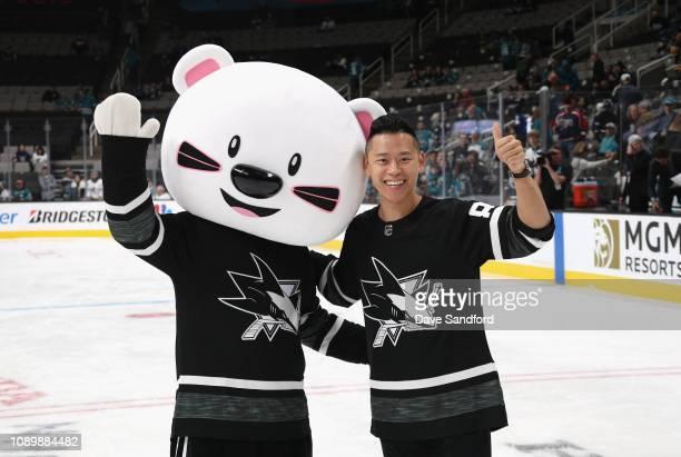 BOOMi and Trevor Lai participate in the 2019 NHL AllStar Mascot Showdown at the SAP Center on January 24 2019 in San Jose California