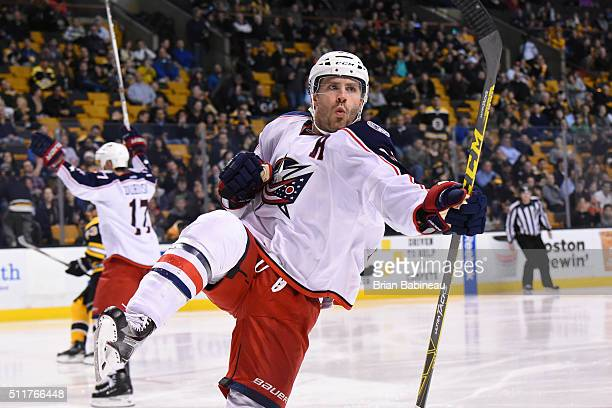 Boone Jenner of the Columbus Blue Jackets celebrates a goal against the Boston Bruins at the TD Garden on February 22 2016 in Boston Massachusetts