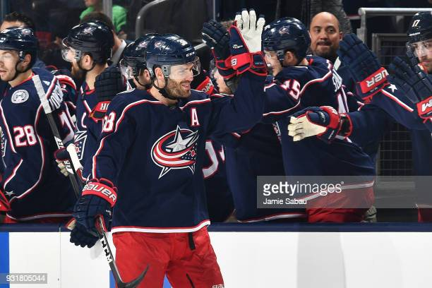 Boone Jenner of the Columbus Blue Jackets celebrates after scoring a goal against the Montreal Canadiens on March 12 2018 at Nationwide Arena in...