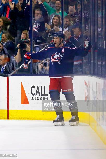 Boone Jenner of the Columbus Blue Jackets celebrates after scoring a goal during the first period of the game against the Ottawa Senators on March 17...