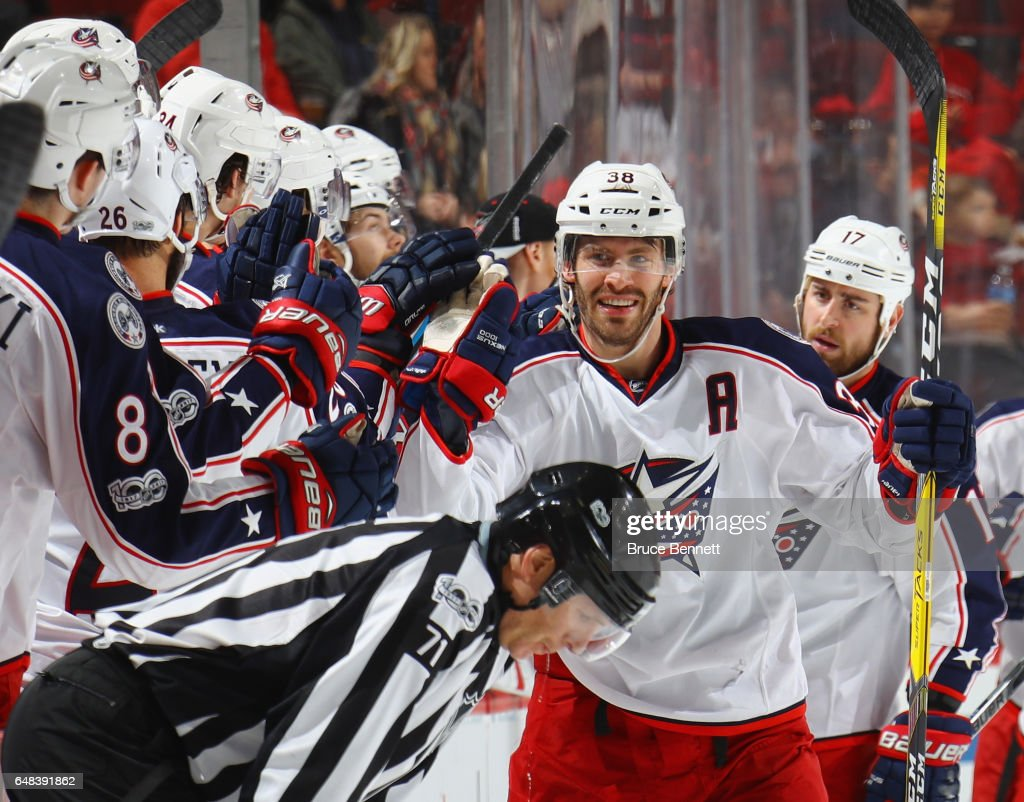 Boone Jenner #38 of the Columbus Blue Jackets celebrates his goal at 2:45 of the second period against the New Jersey Devils at the Prudential Center on March 5, 2017 in Newark, New Jersey.