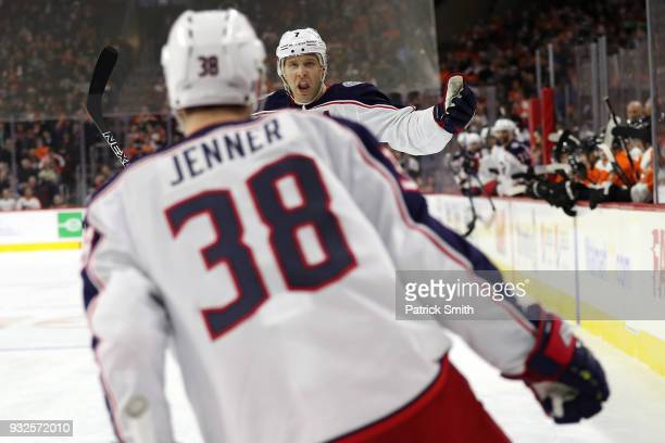 Boone Jenner of the Columbus Blue Jackets celebrates his goal with teammate Jack Johnson against the Philadelphia Flyers during the first period at...