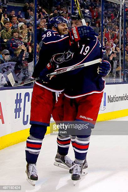 Boone Jenner of the Columbus Blue Jackets is congratulated by Ryan Johansen of the Columbus Blue Jackets after scoring a goal during the second...