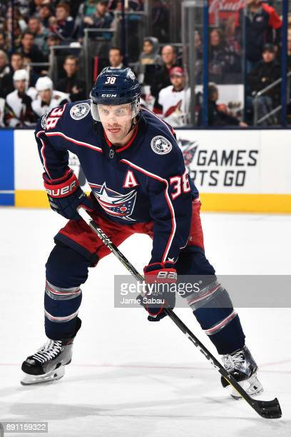 Boone Jenner of the Columbus Blue Jackets skates against the Arizona Coyotes on December 9 2017 at Nationwide Arena in Columbus Ohio