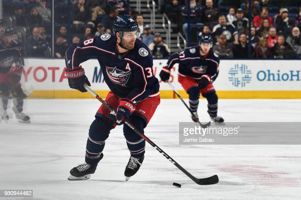 Boone Jenner of the Columbus Blue Jackets skates against the Detroit Red Wings on March 9 2018 at Nationwide Arena in Columbus Ohio