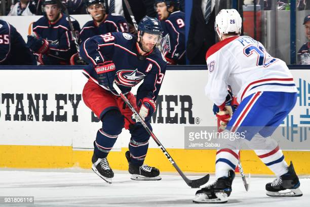 Boone Jenner of the Columbus Blue Jackets skates against the Montreal Canadiens on March 12 2018 at Nationwide Arena in Columbus Ohio