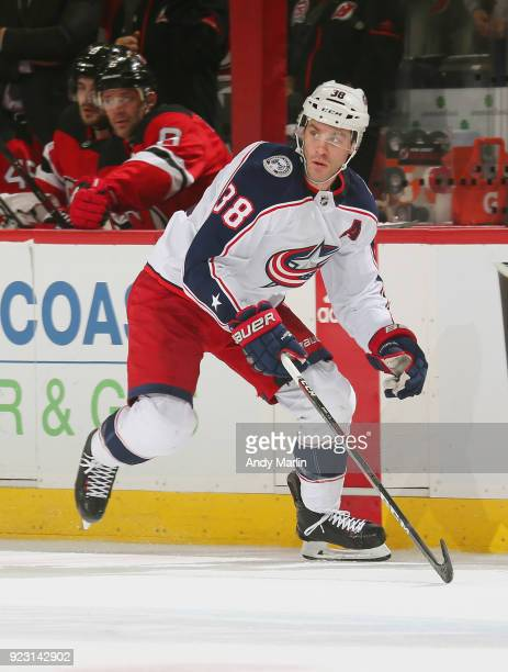 Boone Jenner of the Columbus Blue Jackets skates during the game against the New Jersey Devils at Prudential Center on February 20 2018 in Newark New...