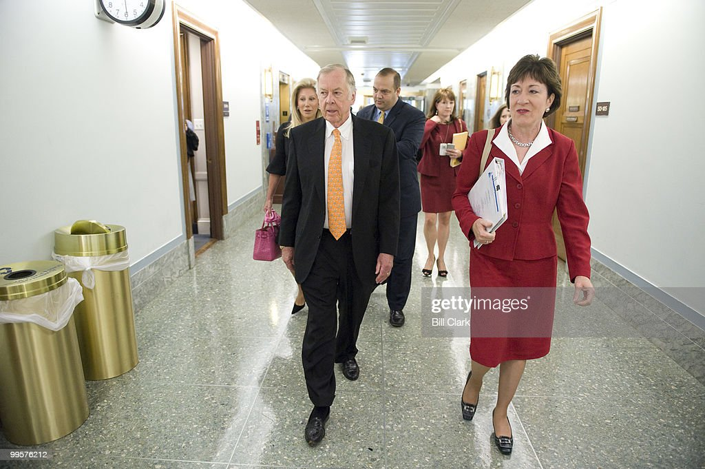 T. Boone Pickens, founder and CEO of BP Capital Management, escorted by Sen. Susan Collins, R-Maine, arrives in the Dirksen Senate Office Building for the Senate Homeland Security and Governmental Affairs Committee hearing on 'Energy Security: An American Imperative,' on Tuesday, July 22, 2008.