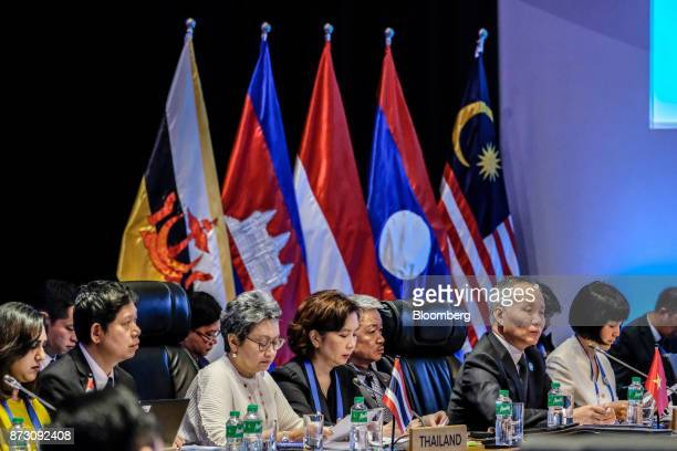 Boonyarit Kalayanamit Thailand's director general at Department of Internal Trade third left attends the Asean economic council meeting at the...