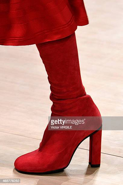 boot detail as a model walks the runway during the Hermes show as part of the Paris Fashion Week Womenswear Fall/Winter 2015/2016 on March 9 2015 in...