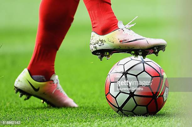 Boot detail of Cedric Soares of Southampton as he controls the ball during the Barclays Premier League match between Leicester City and Southampton...