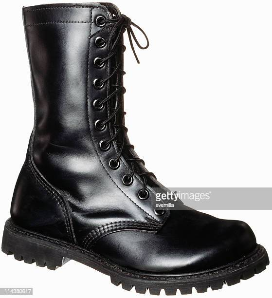 boot on white. - black boot stock pictures, royalty-free photos & images