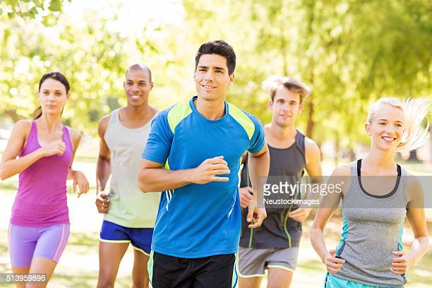 Bootcamp Class Jogging In Park