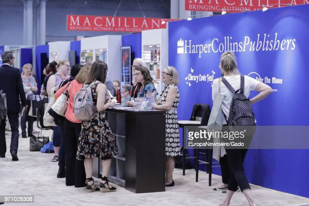 Booth for publishing company HarperCollins during the 2018 edition of BookExpo America in New York City, May 31, 2018.