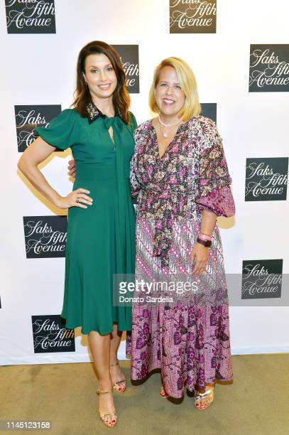 Booth Moore and Bridget Moynahan attend Saks Beverly Hills Celebrates Our Shoes Our Selves Book Launch with Bridget Moynahan and Amanda Benchley on...