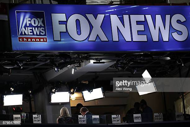 A booth of Fox News is seen at the Wells Fargo Center on July 24 2016 in Philadelphia Pennsylvania The Democratic National Convention opens July 25