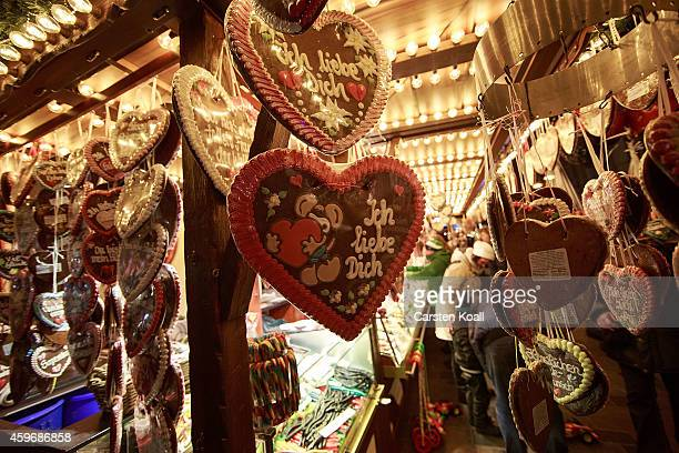 Booth offers gingerbread hearts with the words 'I love you' at the Christmas market on November 28, 2014 in Rostock, Germany. Christmas markets...