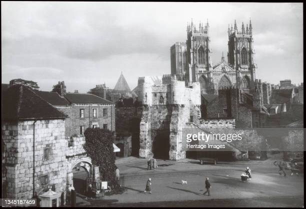 Bootham Bar, York, 1930s. Bootham Bar and York Minster viewed from the City Art Gallery, Exhibition Square with the gateway of St Mary's Abbey in the...
