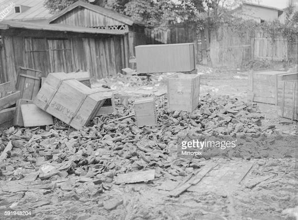 Boots and other supplies abandoned by the retreating Austrian army at Lemberg. September 1914