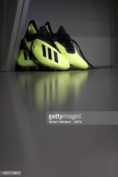 Boots are seen in the German changing room prior to the UEFA Nations League Group A match between Germany and France at Allianz Arena on September 6...
