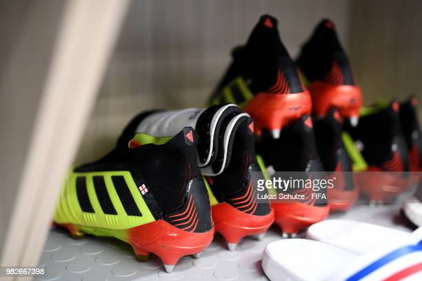Boots are seen inside England dressing room prior to the 2018 FIFA World Cup Russia group G match between England and Panama at Nizhny Novgorod...